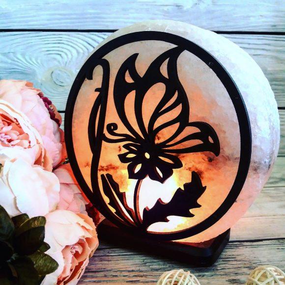 Соляна лампа «Метелик на квітці»