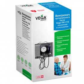 Измеритель (тонометр) артериального давления Vega механический со встроенным стетоскопом